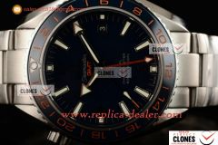 Omega Seamaster Planet Ocean 600M Co-axial GMT SS/SS Blue Clone Omega 8605 Auto 1:1 (KW)