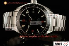Omega Seamaster Planet Ocean 600M Co-axial GMT SS/SS Black Clone Omega 8605 Auto 1:1 (KW)